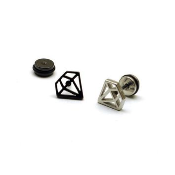 2017 fashion jewelry style Gem-shaped titanium steel Punk Men screw men's/'s ear plug Pierced stud earrings