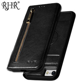 RHR Phone Leather Case For iPhone 7 8 Case Adsorption With Stand Function And Card Holder For iPhone 7 8 Case Flip shell Style
