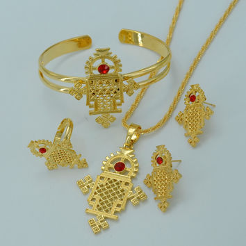 Ethiopian Cross Traditional Religious Jewelry set Necklace/Earrings/Ring/Bangle Ethiopia Gold Plated  Eritrea Crosses #015606