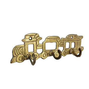 Brass Train Wall Hooks Vintage Coat Hanger Kids Nursery Room Decor Bathroom Towel Rack Key Holder Display Locomotive
