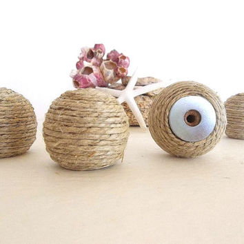 Rope knob ONE Hemp rope knobs Rustic Beach Coastal Nautical Decor drawer cabinet door pulls handles Round furniture knobs rustic decor