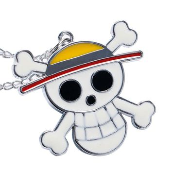 Cute Pirate Skull One Piece Quartz Pocket Necklace Watch Anime Collection Best Gift for Mens Womens Kids Cool Steampunk