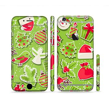 The Red and Green Christmas Icons Sectioned Skin Series for the Apple iPhone 6 Plus