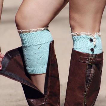 Boot Cuffs,Boot Socks,Boot Leg Warmers,Boot Toppers,Lace Boot Cuffs,Button Boot Cuffs,Crochet Boot Cuffs,4 Buttons Boot Cuffs in MINT BLUE
