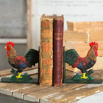 Cast Iron Rooster Bookends