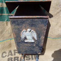 Vintage Mailbox...Hammered Black Metal...Bald Eagle...Rusty Patina...Mid Century...Wall Mount...Letter Holder...Newspaper Holder...Shabby