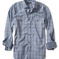 Banana Republic Mens Slim Fit Blue Check Western Shirt