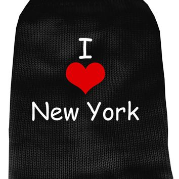 I Love New York Screen Print Knit Pet Sweater Md Black Medium