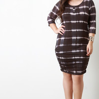 Tie Dye Quarter Sleeves Dress