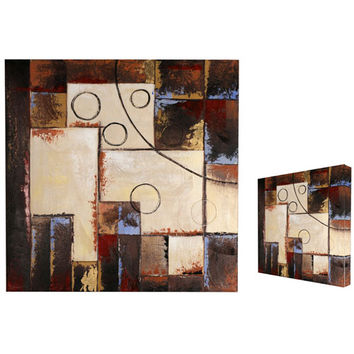 Graphics International BD10B004A-1A Abstract Circles: 40 x 40 Painting on Canvas