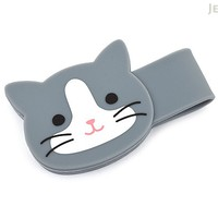 JetPens.com - Lihit Lab Smart Fit PuniLabo Magnetic Clip - Gray Cat