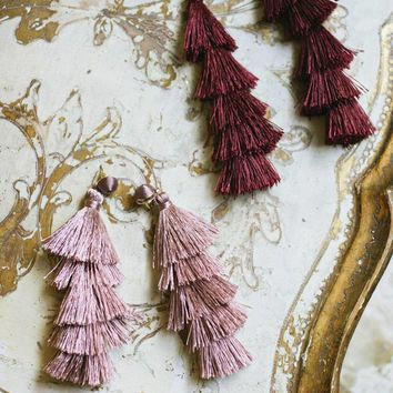 Ellery Tiered Fringe Tassel Earrings