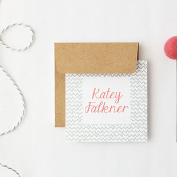 Custom Gift Cards Personalized Enclosure Cards Birthday Gift Tags Mini Card with Envelopes Grey and Coral Stripe Gift Cards Gray / Set of 25
