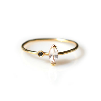 14kt Gold White Topaz and Black Diamond Stella Ring