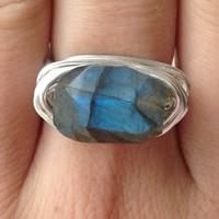 Blue labradorite ring - Size 7 - blue flash - handmade - gemstone - silver - wire wrapped ring - any size  - cocktail ring - chunky ring