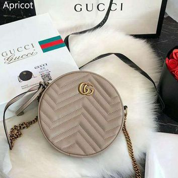 GUCCI Marmont Women's Wave Pattern Mini Round Cake Bag Love Chain Shoulder Messenger Bag