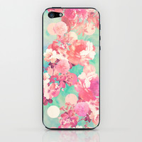 Romantic Pink Retro Floral Pattern Teal Polka Dots iPhone & iPod Skin by Girly Trend