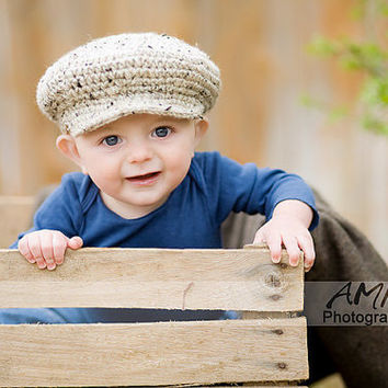 Crochet baby hat. Baby newsboy hat. Unisex scally cap 0 to 12 months Children clothing Baby shower gift. Photo prop Spring fashion. Handmade