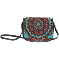 K172 Wood and Turquoise Abstract Classic Saddle Bag/Small (Model 1648) | ID: D262770