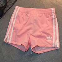 "Hot Sale ""Adidas"" Popular Women Leisure Three Stripe Running Sport Shorts Pink I-AA-XDD"