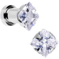 2 Gauge Clear CZ Gem Screw Fit Plug Set