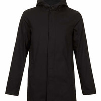 BLACK HOODED TRENCH COAT