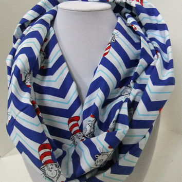 Infinity Scarf - Loop Scarf - Circle Scarf -made by me with Cat in the Hat fabric - Chevron - Dr. Seuss