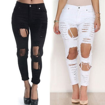Black White Women Ripped Hole Pants Boyfriend Jeans Long Trousers Skinny Denim Jeans Womens High Waisted Jegging Trousers Pants