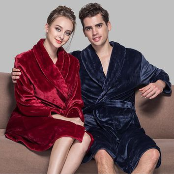 Hot Selling Lovers Soft as Silk Winter Warm Bathrobe Men Long Kimono Bath Robe Femme Robes Mens Dressing Gown for Male Bathrobes