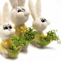 Felted bunny with a bag of sprouted greens - spring home decor - sunny felted animal