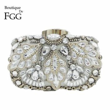 Silver Crystal Beaded Sequins Vintage Women Handbag Metal Clutches Evening Bags Bridal Purse Wedding Party Prom Clutch Hand Bag