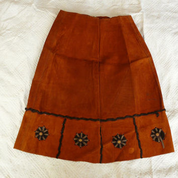 hand made Brown Velvet Skirt Amber Velvet Skirt 1960's  XS Small hippie skirt suede