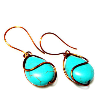 Turquoise Copper Earrings Wire Wrap Turquoise Earrings Copper Black Onyx Earrings Wire Wrap Curly Earrings Gemstone Earrings Blue Earrings