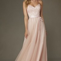 Embroidered Floor Length Mori Lee Prom Dress with Bow