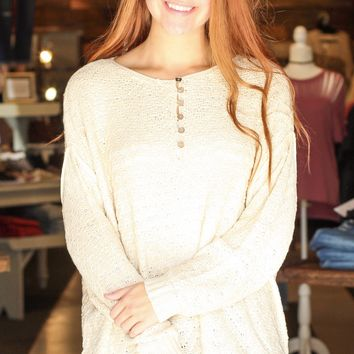 {Oatmeal} Button Me Oversized Knit Sweater