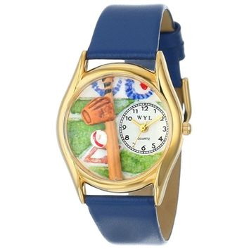SheilaShrubs.com: Women's Baseball Royal Blue Leather Watch C-0820004 by Whimsical Watches: Watches