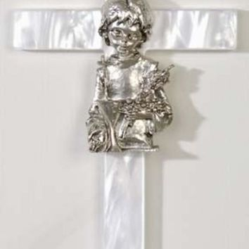 ESBMS9 Girl's Mother of Pearl First Communion Wall Cross