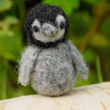 needle felted penguin, miniature felt, miniature penguin, christmas decoration, needle felted animal, needle felt miniature wildlife animal