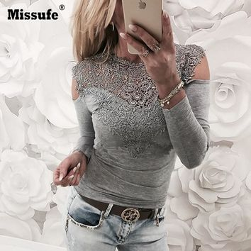 New Spring Sexy Lace Blouses Shirts Women Patchwork Off Shoulder Tops 2018 Blusas 4 Colors Slim Party Womens Blouse