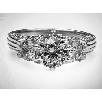 A Perfect Three Stone 1.3CT Round Cut Russian Lab Diamond Engagement Ring