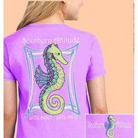 Southern Attitude Preppy Classy Peals Seahorse Orchid T-Shirt