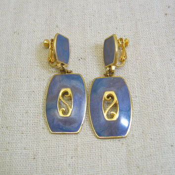 Vintage Over the Top  Berebi Lavender Gray and Gold Adjustable Clip On Earrings