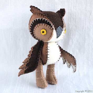 Aldan the Horned Owl Wool Felt Plush Art Doll by nonesuchgarden