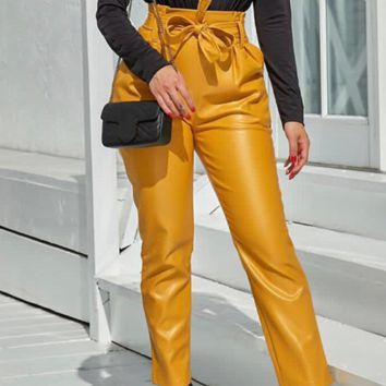 Hot style sells slim, high-waisted and bright leather trousers for women