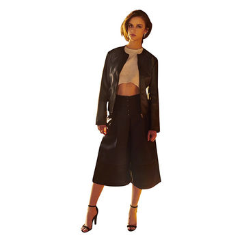Mary Faux Leather Slight Gloss Black Collarless  Jacket