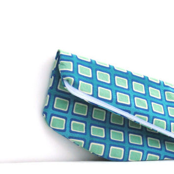 FoldOver Clutch Purse. Small clutch. Cosmetic Case. Makeup Pouch. Fabric Wallet. Turquoise with Green Squares. Spring Line.