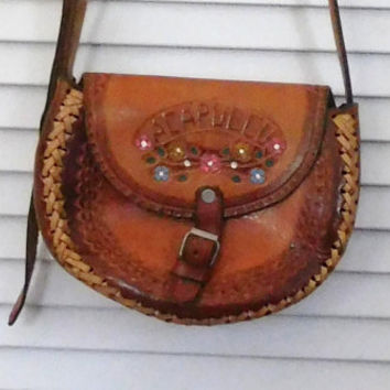 Hippie Leather Purse Satchel Tooled Bag Painted Buckle Closure Cross Body Purse Shoulder Bag Boho Bohemian Gypsy Cowgirl Glam 70s Style