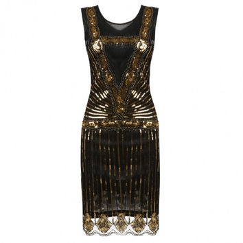 Women's O-Neck Sleeveless Sequined Cocktail Evening Party Bodycon Dress