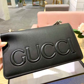 Free shipping-GUCCI new embossed logo chain shoulder bag