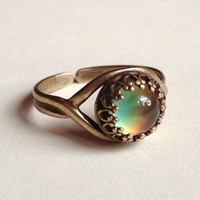 Mood Ring - High Quality - 7mm - Top Quality Antique Brass - adjustable